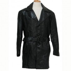 Designer Men Black Long Stylish Leather Coat